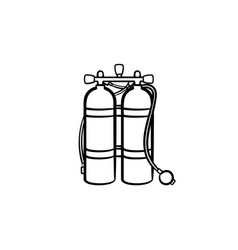 Oxygen tank hand drawn sketch icon vector