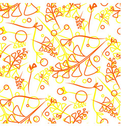 pattern from plant orange and yellow stems and vector image