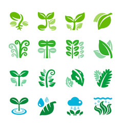 Plant and leaf icon set vector