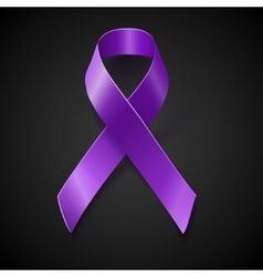 Purple awareness ribbon over black background vector
