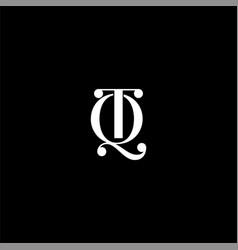 Q t letter logo creative design on black color vector