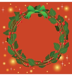 Red Green Wreath Bouquet ornament for christmas vector