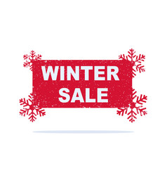 red winter sale sticker with snowflakes vector image