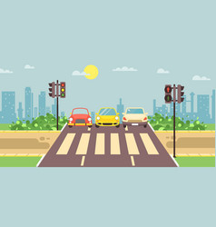 Roadside cartoon landscape vector