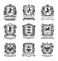 royal heraldry medieval horse and animals icons vector image