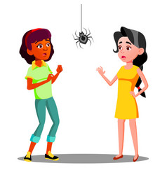 scared teen girls with spider on the wall vector image