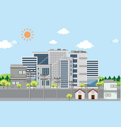 Scene with buildings and houses in city vector