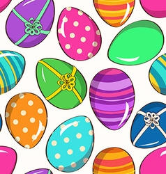 seamless pattern funny easter eggs vector image