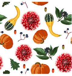 Seamless pattern with autumn leaves and flowers vector