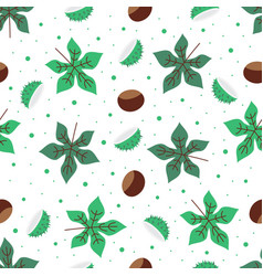 Seamless pattern with green chestnut leaves vector