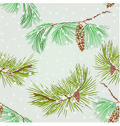seamless texture branch pine and snowflakes vector image