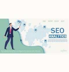 seo analytics company flat web banner vector image