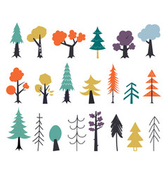 set autumn trees red yellow green hand drawn vector image