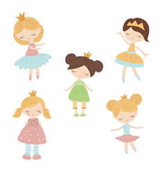 set of cartoon girls set of cartoon girls vector image