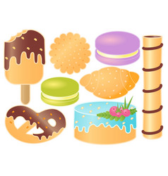 Set of sweets croissant pretzel cupcake vector