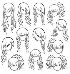 Set of teenage girl hairstyles vector
