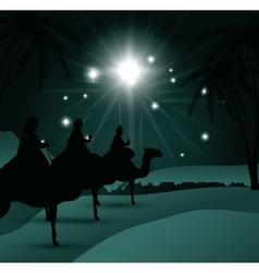 silhouette three wise kings manger design isolated vector image