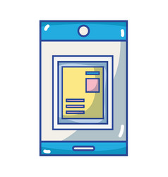 smartphone technology with document information vector image