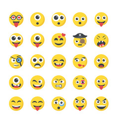 Smileys flat icons vector