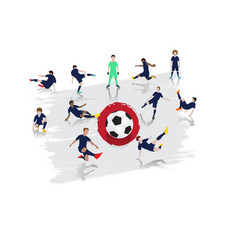 soccer player team with japan flag background vector image