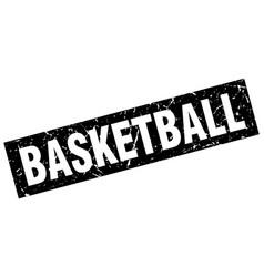 Square grunge black basketball stamp vector