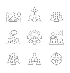 team work line icons on white background vector image