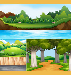 Three nature scenes with river and road vector