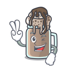 Two finger milkshake character cartoon style vector