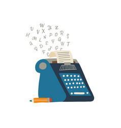 typewriter icon with paper and flying letters and vector image