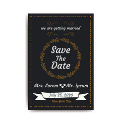 wedding save the date invitation card with black vector image