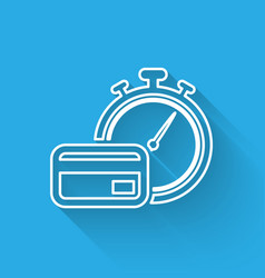 White fast payments line icon isolated with long vector