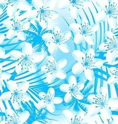 White tropical frangipani with palms seamless vector