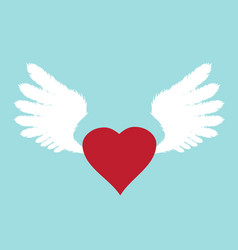 Wings with heart vector