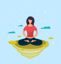 young woman meditating in lotus pose vector image