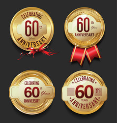 anniversary retro golden labels collection 60 vector image vector image