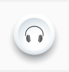 headphones icon on a white button and white vector image