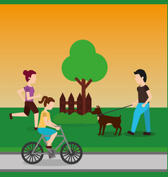 people in the park running ride bicycle and vector image