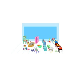 Play area showing washing cooking kitchen and vector image vector image