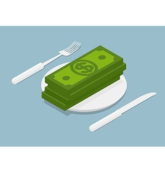 stack of money isometrics 3D Cash on plate Cutlery vector image