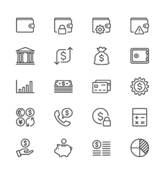 Financial management thin icons vector image vector image