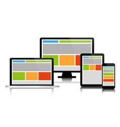 fully responsive web design in modern electronic vector image vector image