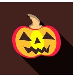Halloween pumpkin icon flat style vector image