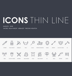 knight-wars thin line icons vector image vector image