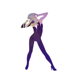 the dancing girl silhouette in nightclub vector image