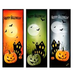 tree halloween banners vert vector image