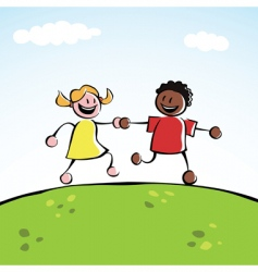two kids holding hands vector image vector image