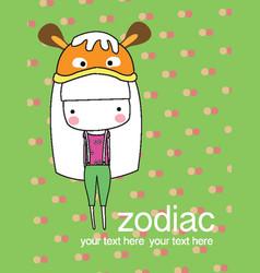 cute baby girl set zodiac - symbols of chinese hor vector image vector image