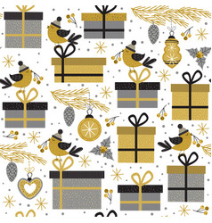 seamless pattern with gold gifts and bird vector image