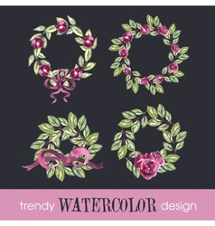 Watercolor Set of Four Rose WreathsTrendy Design vector image