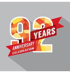 92nd Years Anniversary Celebration Design vector image
